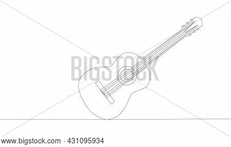 Animation Of Continuous Line Drawing Of Big Acoustic Guitar.