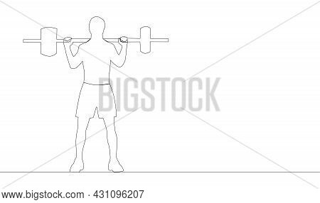 Single Continuous Line Drawing Of Young Strong Weightlifter Man Preparing For Barbell Workout In Gym