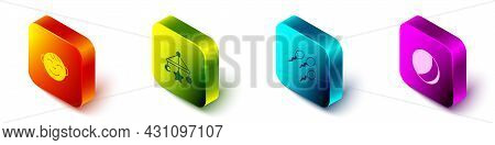 Set Isometric Little Boy Head, Baby Crib Hanging Toys, Sperm And Beach Ball Icon. Vector