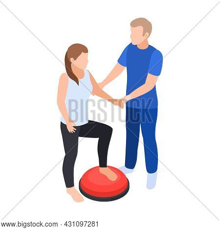 Physiotherapy Rehabilitation Isometric Composition With Characters Of Doctor And Patient Doing Feet