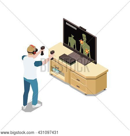 Stay At Home Isometric Composition With Human Character Playing Video Game Shooter Vector Illustrati