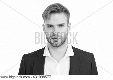 Treat Your Hair Today. Handsome Man With Stylish Haircut Isolated On White. Trendy Short Haircut. Ha