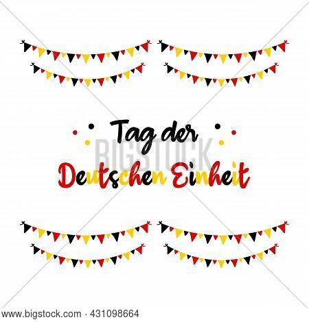 Vector Greeting Card With German Flag Colors Garlands And Text, Translated As «german Unity Day». Oc
