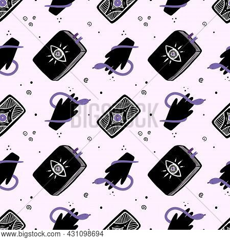 Spell Books, Tarot Cards And Hands With Snakes Vector Seamless Pattern Background For Magic, Witchcr