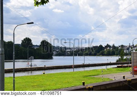 Koblenz, Germany - August 10th 2021: Mosel At The River Lock In Koblenz