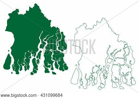 South 24 Parganas District (west Bengal State, Republic Of India) Map Vector Illustration, Scribble