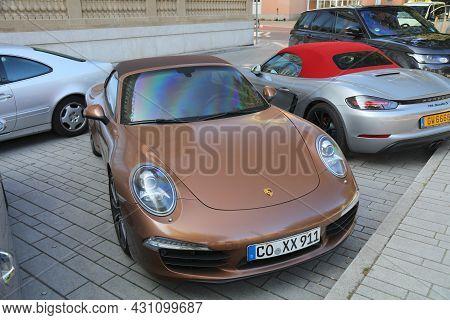 Dusseldorf, Germany - September 19, 2020: Porsche 991 Carrera Luxury Sports Car Parked In Germany. T