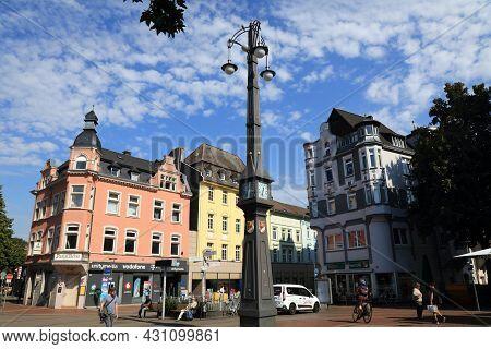 Dortmund, Germany - September 16, 2020: People Walk Near Schlanke Mathilde Clock In Hoerde District