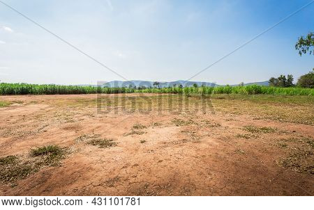 Empty Dry Cracked Swamp Reclamation Soil, Land Plot For Housing Construction Project With Car Tire P