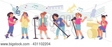Banner With Children Playing Musical Instruments And Singing Songs. Kids Orchestra Or Band, Music Ed