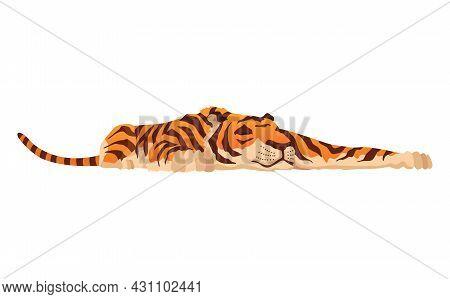 Adult Big Tiger. Cute Animal From Wildlife. Big Cat. Predatory Mammal. Painted Cartoon Animal Design