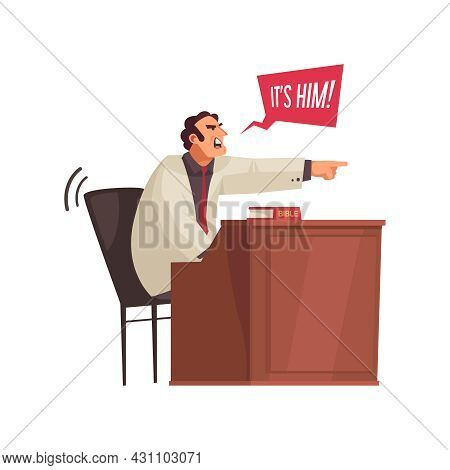 Law Justice Composition With Crying Male Character Pointing Finger Vector Illustration