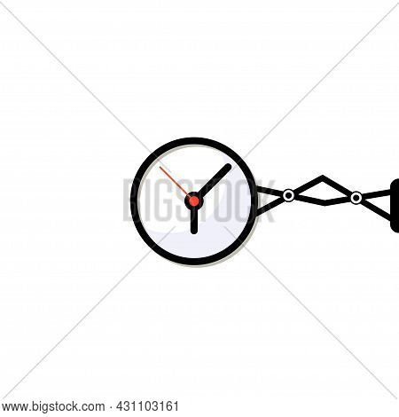 Clock Flat Isolated Object For Time Measurement. Hour, Second Concept Vector Illustration.