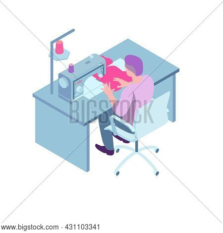Isometric Sewing Workshop Studio Composition With Worker Sitting In Chair At Table With Sewing Machi