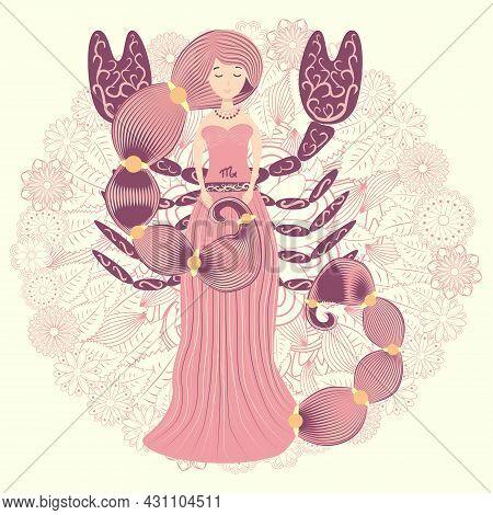 Zodiac, Scorpio Zodiac Sign Illustration As A Beautiful Girl With Braids. Vintage Zodiac Boho Style