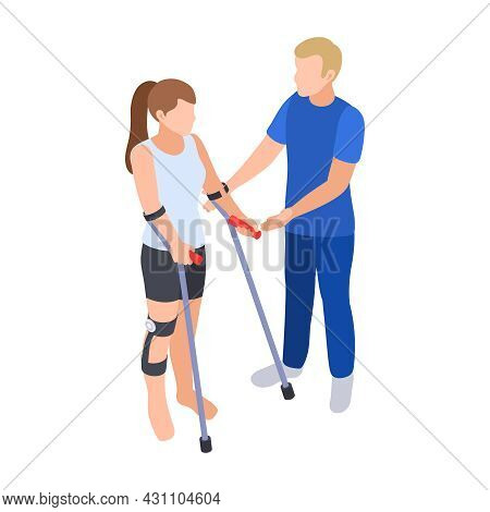 Physiotherapy Rehabilitation Isometric Composition With Girl Standing On Crutches And Assisting Doct