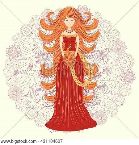Zodiac, Leo Zodiac Sign Illustration As A Beautiful Girl With Braids. Vintage Zodiac Boho Style Fash