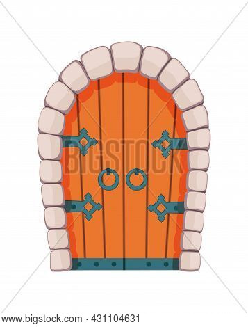Fairytale Door Medieval. Element Of Medieval Castle Or Fortres. Wooden Portal With Stone Arch, Forge