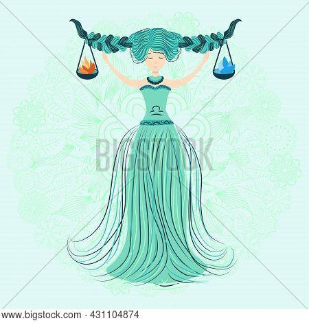 Zodiac, Libra Illustration Of The Zodiac Sign As A Beautiful Girl With Braids. Vintage Zodiac Boho S