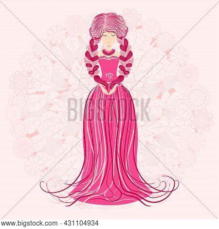 Zodiac, Virgo Zodiac Sign Illustration As A Beautiful Girl With Braids. Vintage Zodiac Boho Style Fa