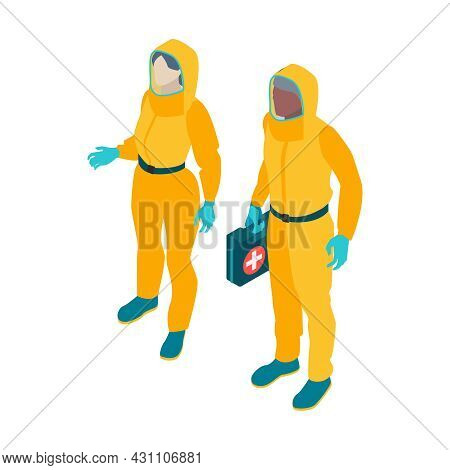 Isometric Infectious Disease Doctor Scientist Virologist Composition With Pair Of Medical Specialist