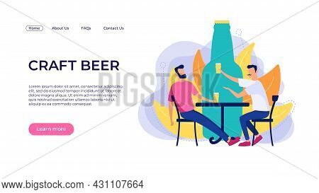 Craft Beer Landing Page Concept. Vector Template With Two Men Holding Craft Beer Glasses Drinking In