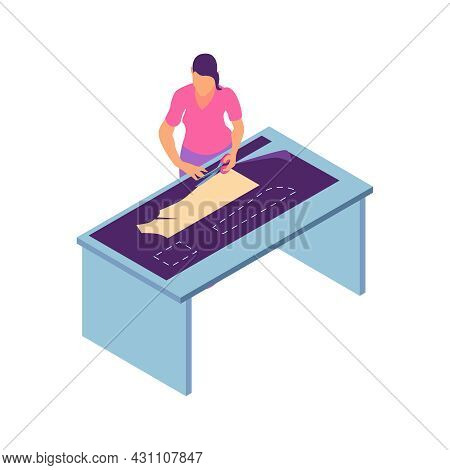 Isometric Sewing Workshop Studio Composition With Female Character Of Tailor Cutting Dress Pattern W