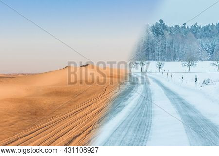 Climate Change Transition From Summer Desert Heat To Winter Snow. Extreme Contrast Weather Range At