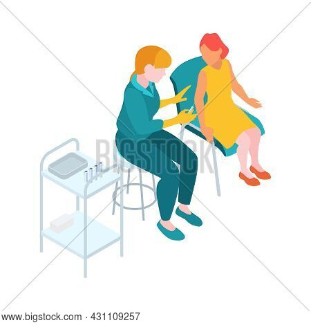 Isometric Infectious Disease Doctor Scientist Virologist Composition With Physician Making Injection