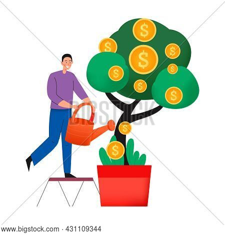 Crowdfunding Composition With Flat Icons Of Coins On Money Tree With Man And Watering Pot Vector Ill