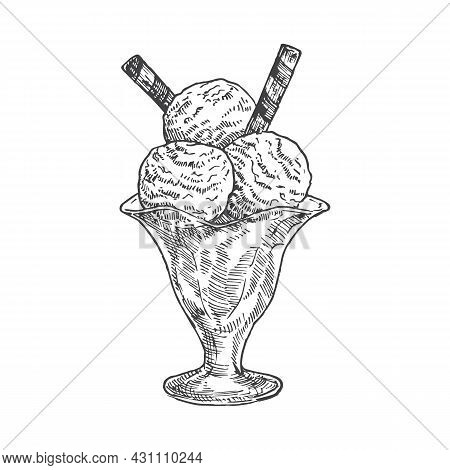 Icecream Or Gelato Sweets Hand Drawn Doodle Vector Illustration. Confectionary Sketch Style Drawing.