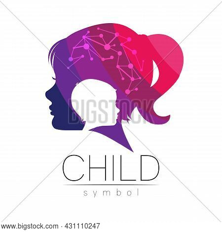 Child Girl Vector Logotype In Violet Color. Silhouette Profile Human Head. Concept Logo For People,