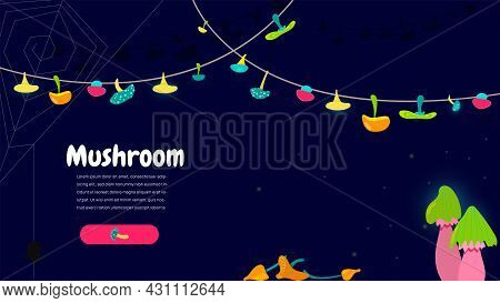 Fabulous Banner With Mystical Mushrooms For A Website Or A Computer Game. Space Splash With Bright M
