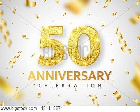 Anniversary 50 Year Card. Birthday Glitter Number Decor. Golden Confetti Ribbon Banner. Luxury Gold