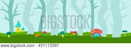 Fabulous Banner With Bright Mushrooms In The Forest. Background For Childrens Play. Mystical Forest.