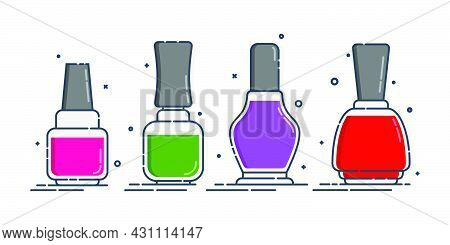 Cosmetic Container Nail Polish In Row. Female Fashion Product. Traditional Plastic Or Glass Bottle D