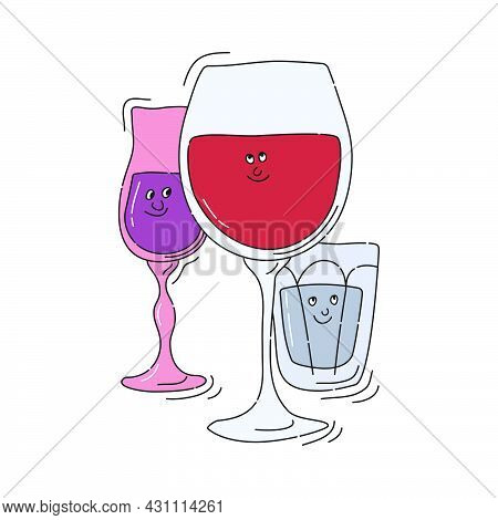 Red Wine Vodka Liquor Glassware With Smile Face On White Background. Cartoon Sketch. Doodle Style Wi
