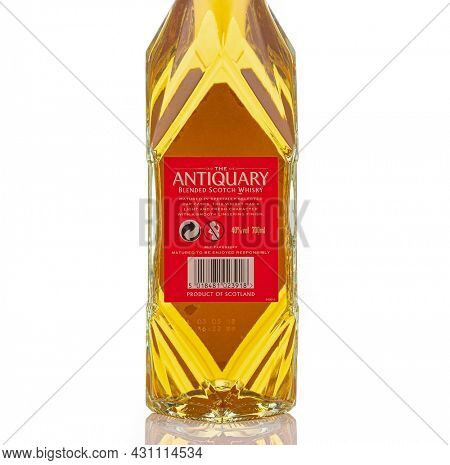 Berlin - JAN 15, 2020: Antiquary Tomatin Highland Single Malt Scotch Whisky on store shelf in Berlin Its whisky is classified as being from the Highland region