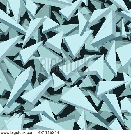 Seamless Abstract Pattern Of Shards Of Glass, Ice In Blue Tones For Prints On Fabrics, Clothing Pack