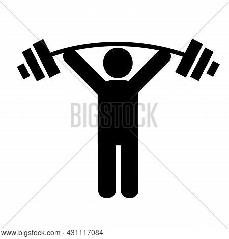 Weightlifter Icon On White Background. Dumbbell Training Sign. Man Lifting Weight Symbol. Flat Style
