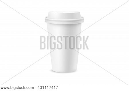 White Paper Cup For Coffee, Tea, Chocolate And Other Hot Drinks. White Cup Mockup. Disposable Cup. T
