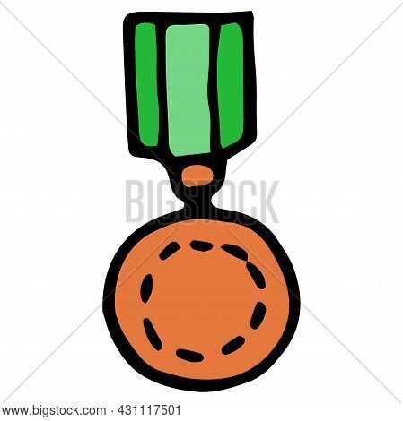A Vector Icon Of A Bronze Medal With A Green Ribbon. Drawn In The Doodle Style Of A Round Medal In T