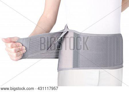 Orthopedic Lumbar Corset On The Human Body. Back Brace, Waist Support Belt For Back. Posture Correct