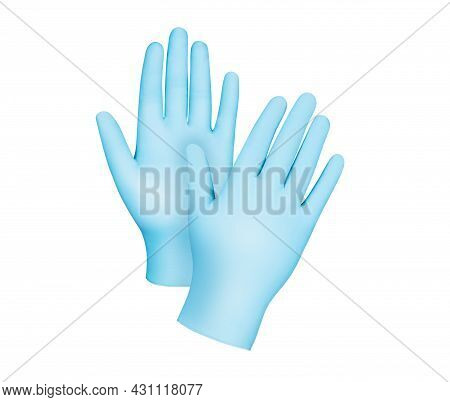 Two Blue Surgical Medical Gloves Isolated On White Background With Hands. Rubber Glove Manufacturing