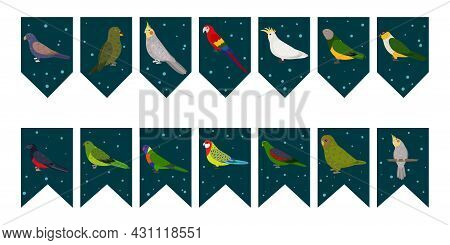 Flags Garland For Birthday Party With Tropical Birds On Colorful Dark Green Background. Bunting Wit