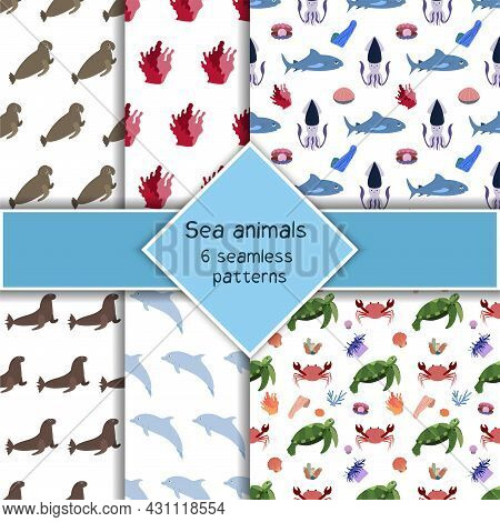 Set With Six Sea Animal Seamless Pattern With Shark, Squid And Turtle, Crab Dolphin. Undersea World