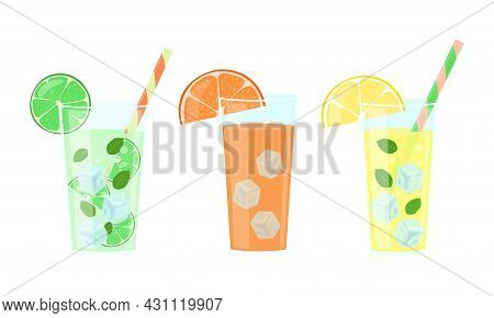 Citrus Drinks Set. Lemonade, Orange Juice And Mojito In Glasses Isolated. Vector Illustration.