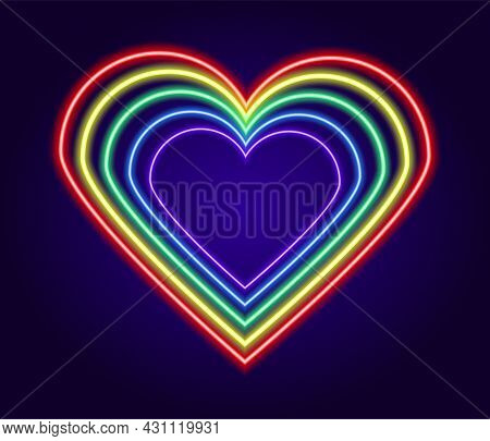 Neon Heart Sign Made Of Multicolored Lines. Vector Isolated Love Symbol Made Of Glowing Outlines Of