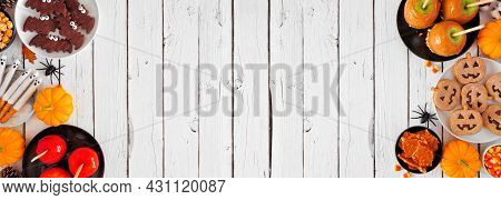 Rustic Halloween Treat Double Border Over A White Wood Banner Background With Copy Space. Above View