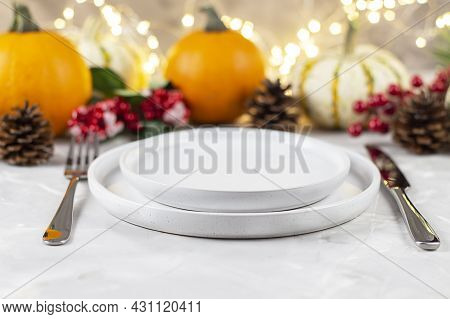 Thanksgiving Dinner. The Festive Table Is Decorated With Pumpkins. Thanksgiving Background. Copy Spa